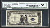 $1 1935F ONE DOLLAR UNC SILVER CERTIFICATE NOTE OLD PAPER MONEY BLUE SEAL BILL