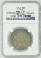 1806/5 EARLY US HALF DOLLAR O-103 VF DETAILS NGC CERTIFIED COIN CURRENCY