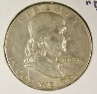 1959 D FRANKLIN SILVER HALF DOLLAR XF CONDITION JJ
