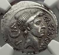 JULIUS CAESAR 44 BC .AUTHENTIC ANCIENT SILVER ROMAN PEDIGREED COIN NGC CH XF