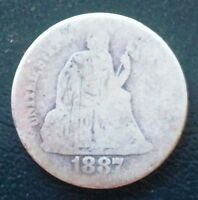 1887 U.S. SEATED LIBERTY SILVER DIME   10 CENTS   D60
