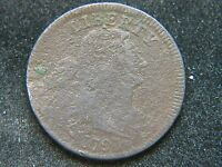 1797 PLAIN EDGE STEMS DRAPED BUST LARGE CENT  DETAIL BOLD DATE CORRODED