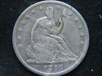 1861 SEATED LIBERTY HALF DOLLAR CIVIL WAR YEAR CLEANED