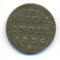 NETHERLANDS COIN EAST INDIES SUMATRA 1/2 STUIVER 1826 S COPPER KM285 VF