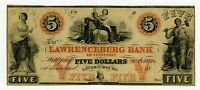 1800'S $5 THE LAWRENCEBURG BANK   TENNESSEE NOTE