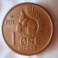 1971 NORWAY ORE   UNCIRCULATED   FROM ROLL   SQUIRREL COIN