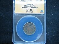 1864 2C SMALL MOTTO BN TWO CENT PIECE ANACS EF 45 DETAIL CORRODED  KEY DATE