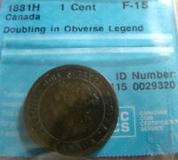 CANADA 1881 LARGE ONE CENT; GRADED F 15 DOUBLING ON REGINA