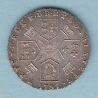 GREAT BRITAIN. 1787 GEORGE 111.. SIXPENCE.. WITHOUT HEARTS..  GEF   MUCH LUSTRE