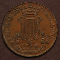 SPAIN CATALONIA 6 QUATROS 1846 COPPER AU