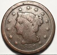1851 LARGE CENT U.S. COIN BIG PENNY ONE CENT  FREE BUBBLE SHIP WITH TRACKING