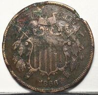 1866 TWO CENT PIECE U.S. COIN 19TH CENTURY TYPE  FREE BUBBLE SHIP W TRACKING