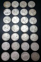 LOT OF 28 CANADA SILVER QUARTERS 1937 1938 1939 1940 1941 1942 1943 1944 1945