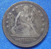 1873 25C LIBERTY SEATED QUARTER; TYPE 5 WITH MOTTO NO ARROWS OPEN 3