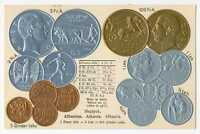 ALBANIA ALBANIAN COINS ON GERMAN AD POSTCARD CA 1926  MINT CONDITION