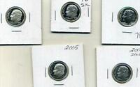 1962 1996 1997 2000 2005 S ROOSEVELT SILVER DIME PROOF COIN LOT OF 5