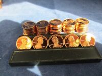 ROLL OF 50 LINCOLN CENTS DEEP MIRROR PROOF 2000 2001 2002 2003 2004 BRIGHT RED