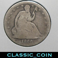 1866 S SILVER SEATED LIBERTY HALF DOLLAR 50C SAN FRANCISCO TOUGH DATE