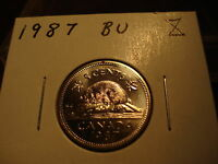 1987   CANADA   FIVE CENT   BRILLIANT UNCIRCULATED NICKEL   NICE COIN
