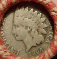 ESTATE MIXED CENT ROLL WITH 1860 INDIAN HEAD CENT / VF 1901 INDIAN HEAD CENT V1