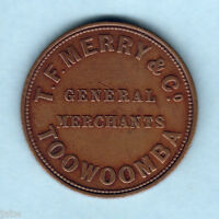 AUSTRALIA TOKEN.  MERRY & CO.. 1D C1860S   TOOWOOMBA QLD.. MERCHANTS..  VF