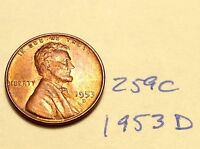 1953-D 1C RD LINCOLN CENT 259C