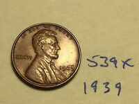 1939 1C BN LINCOLN CENT 539X