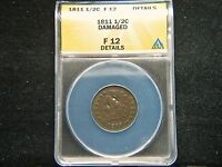 1811 1/2C BN CLASSIC HEAD HALF CENT ANACS FINE 12 DETAIL DAMAGED  KEY DATE