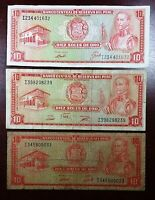 PERU: LOT OF 5 NOTES 1970 1973 1975 10 SOLES P 100B 100C  FREE COMBINED S/H