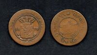 M9949 NETHERLANDS EAST INDIES 1 CENT 1859 WILLIAM III 1849   1890