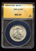 1961 D FRANKLIN HALF DOLLAR ANACS CERTIFIED MS 64 3G679