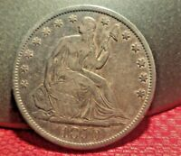 1850 O SEATED LIB. SILVER HALF IN XF/AU BEAUTIFUL NICE  SILVER HALF
