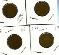 1864 1865 1866 1867 TWO CENT PIECE TYPE LOT OF 4 G VG 1143J