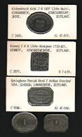 SCOTLAND. GROUP OF 5 DIFFERENT COMMUNION TOKENS. 1700S   1854 IN LEAD