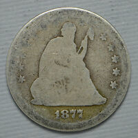 1877 SEATED LIBERTY SILVER QUARTER CN1051