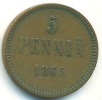 FINLAND COIN 5 PENNIA 1865 COPPER VF