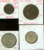 GREAT BRITAIN COINS:  2 OLD 1865 1905 2 NEW 1970,1985 2G393 LOW START