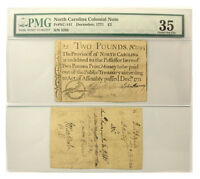 DECEMBER 1771 NORTH CAROLINA 2 POUND COLONIAL CURRENCY PMG CHOICE FINE 35