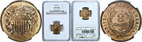 1868 TWO CENT PIECE NGC MINT STATE 64 RB
