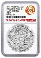 2017 P AUSTRALIA 1 OZ SILVER DRAGON & PHOENIX NGC MS70 ER EXCLUSIVE LBL SKU44355