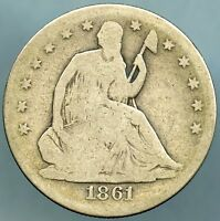 1861 LIBERTY SEATED HALF DOLLAR GOOD CONDITION