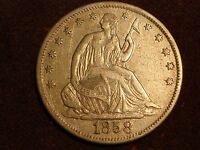 1858 S SEATED LIBERTY HALF DOLLAR XF   LIGHTLY CLEANED
