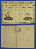 CURRENCY: FRANCE: 1791 1ST ISSUE 5 LIVRES XF