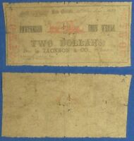 OBSOLETE CURRENCY: $2 PATTERSON IRON WORKS JACKSON COUNTY 1862 NEW ORLEANS LA