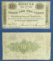 OBSOLETE CURRENCY: 10 CT. JONES & SAWYER ALTON NH 1862