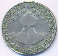 BOLIVIA BOLIVAR 4 SOLES 1830 MINTMARK LOW IN ISLAND VARIETY