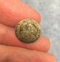 WILLIAM III SILVER TWOPENCE. DATED 1701. MOUNTED WITH LOOP AT BACK.
