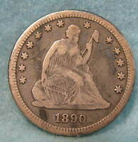 1890 SEATED LIBERTY SILVER QUARTER FINE  CIRCULATED US COIN 330