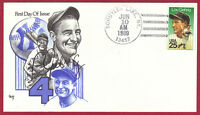1989 25C LOU GEHRIG, BASEBALL 2417, FDC, MARG, UNOFFICIAL CITY CANCEL