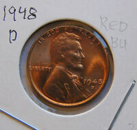 1948 D RED BU  UNCIRCULATED MS LINCOLN WHEAT CENT 3
